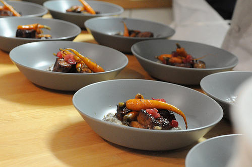 pork belly with coffee-roasted carrots, creamed carrot tops and cranberries.jpg