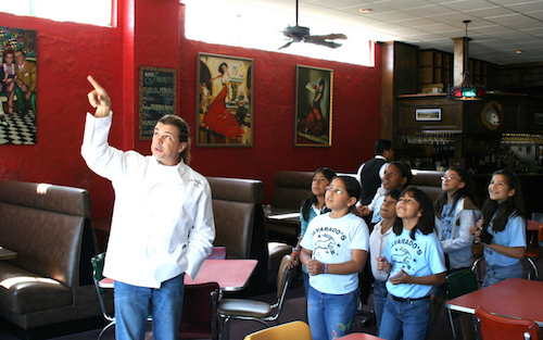 Chef Peter Garcia with Students at El Meson 2008 For BLOG.jpeg