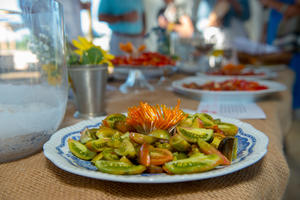 Heirloom tomatoes fill platters at Chefs in the Field Tomato Tribute at Hope Farms.jpg